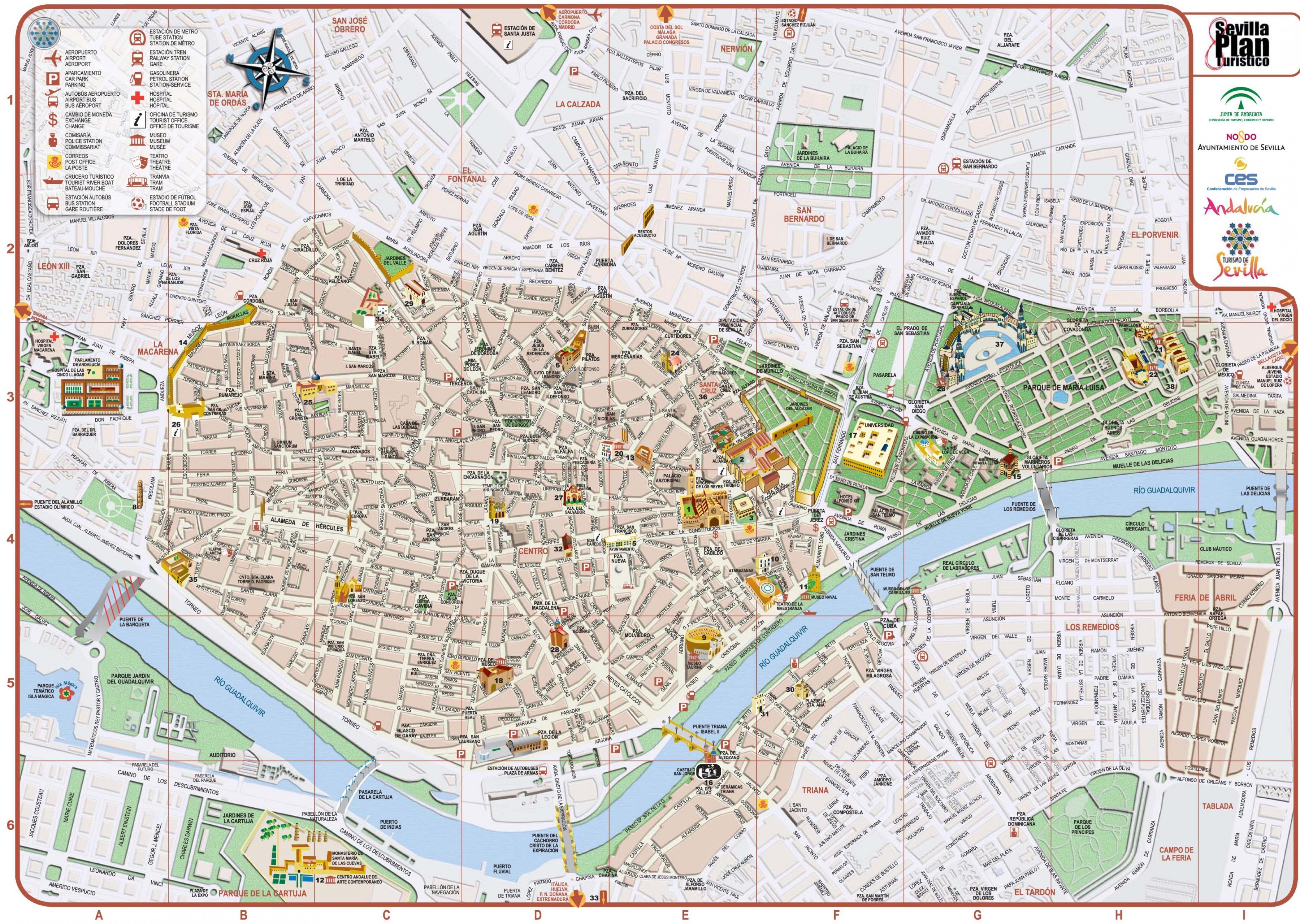Sevilla city map - Stadtplan von Sevilla in Spanien ...