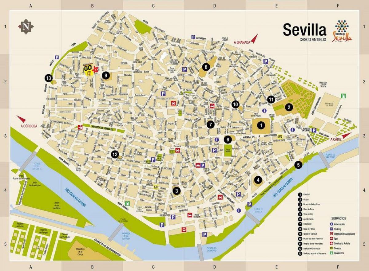Sevilla offline-Landkarte - Karte von Sevilla offline ...