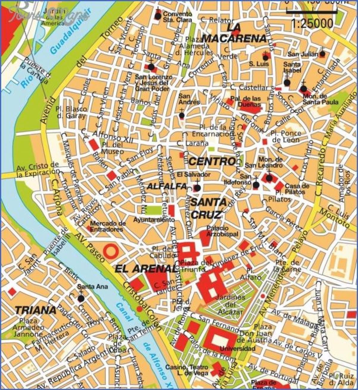 Sevilla touristische Karte - Sevilla Sehenswürdigkeiten ...